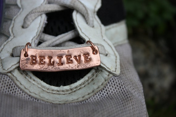Copper Shoe-plate/ pendant for runners and athletes stamped with BELIEVE