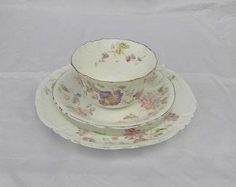 Vintage  Fine bone china  Tea Cup , Saucer and Side Plate. By W.A.A & Co  Spray Nr 70 England