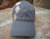 Men's Golf Hat Grey & Orange - Argyle Pattern with Embroidered Tee Design | Great Golf Gift Item