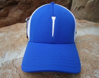 Men's Trucker Golf Hat Royal Blue with Embroidered Tee Design | Great Golf Gift Item