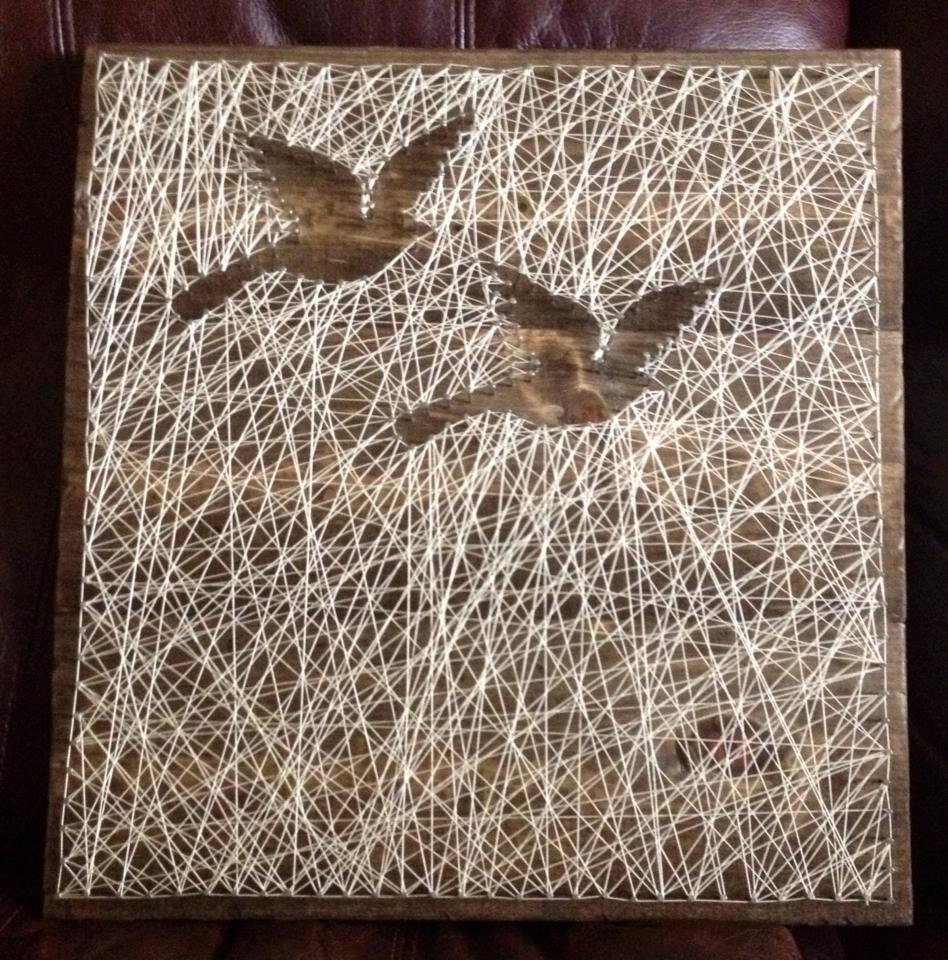 Classroom Decor Birds ~ Reverse string art of birds