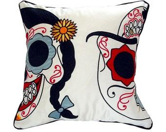 Embroidered Sugar Skull Cushion