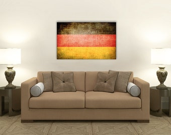 Vintage German Flag, Ready to Hang Fine Art Canvas Prints, Availble in Custom Sizes, Home Decorating Canvas Print [PXCF035-C]