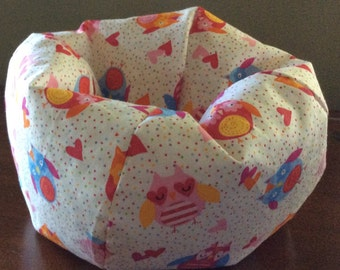 American Doll Or 18 Bean Bag Chair Owls Hearts