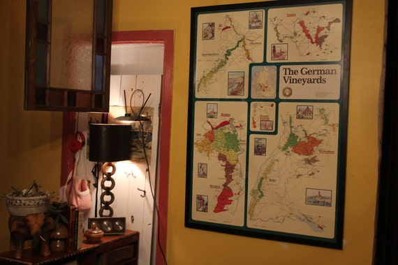 Huge Vintage Custom Framed German Wine Region Map