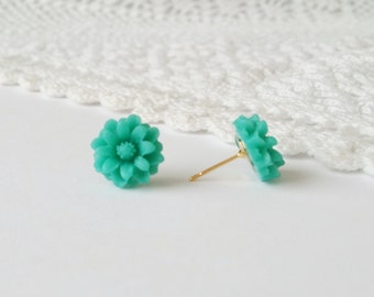 Dark cyan stud earrings, sunflower earrings, blue sunflower earrings, blue earrings, blue flower earrings,blue studs, blue post earrings