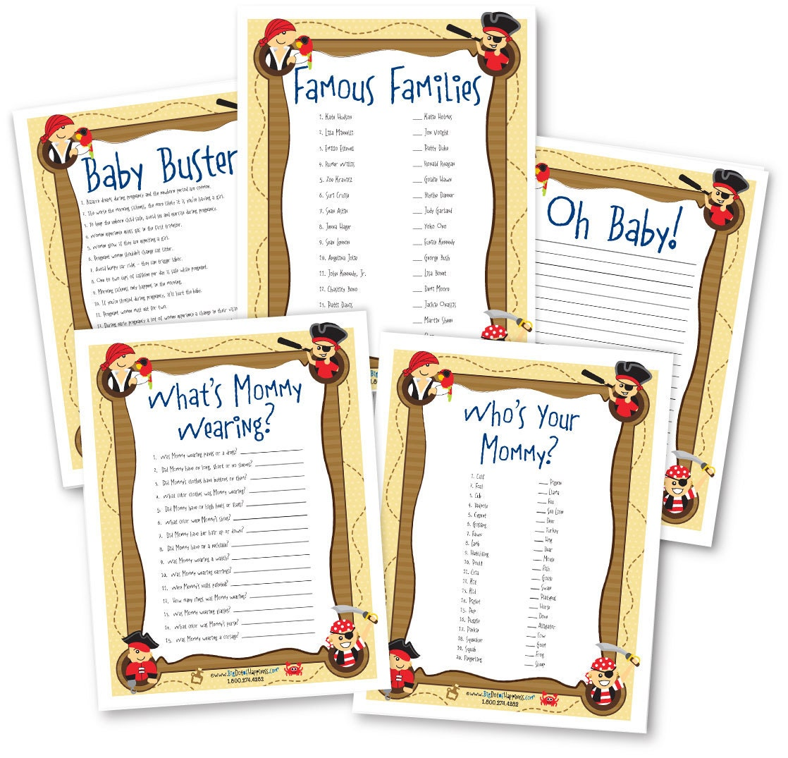ahoy mates pirate baby shower game pack 5 instant