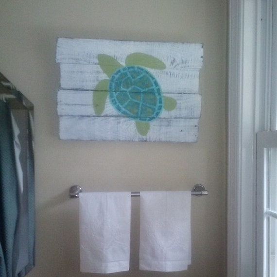 Distressed sea turtle painting on pallet board for Sea bathroom ideas