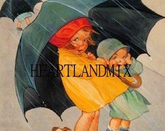 Vintage Postcard of Spring Rainl Deco Era