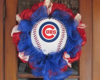 "24"" Cubs Baseball Wreath- Chicago Cubs Wreath- Baseball Deco Mesh Wreath- Sports Wreath- Sports Deco Mesh Wreath"