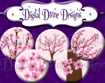 Cherry Blossom - 1 inch round digital graphics - Instant Download