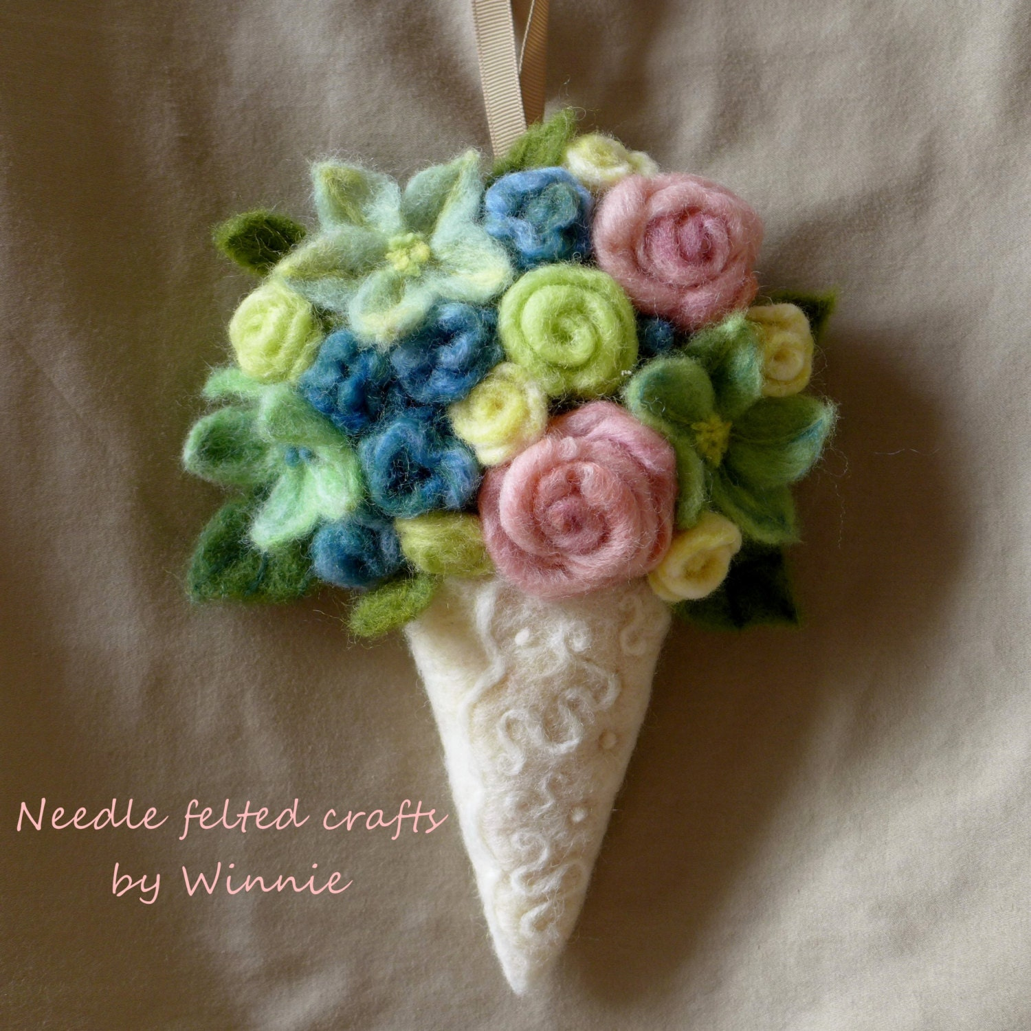 Wall Sconces With Flowers: Needle Felted Flower Arrangement Wall Sconce