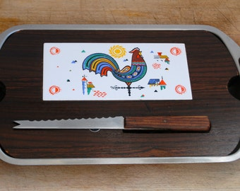 Vintage Scandi Style Wood and Pottery Cheese Board with Stainless Serving Tray. 60's Teak Wood