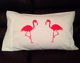 Neon Pink Flamingo Pillowcase - Hand Screen Printed