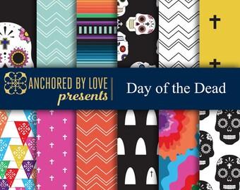 Day of the Dead digital paper, Dia de los Muertos digital paper, Halloween scrapbook paper, Sugar Skull Digital, Digital paper pack of 12