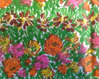 Vintage fabric by the yard. Vintage floral fabric.
