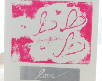 love card - hand pulled original art print - block style print - set of four - valentines day