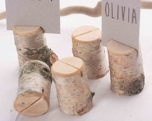 50 pieces rustic birch place card holders, Wedding card holders, name card holders, wooden place card holders, wooden holder with bark