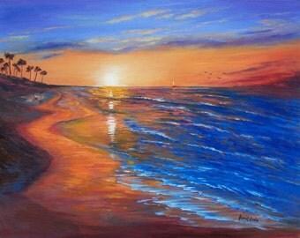 Original Oil Painting , Oil on Canvas , Landscape Painting,Seascape Painting, Last hour sunset,  Napili beach, Maui, Hawaii,