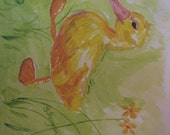 Duckling on the Go, Original Watercolor Acrylic Painting -- Not a Copy, Painting Only (no frame), Signed