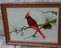 Vibrant Cardinal Reverse Glass Painting!