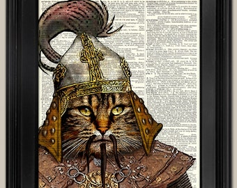 """Genghis Khan Cat. Vintage book page art print. Print on book page.  Fits 8""""x10"""" frame. Gift for Dad."""