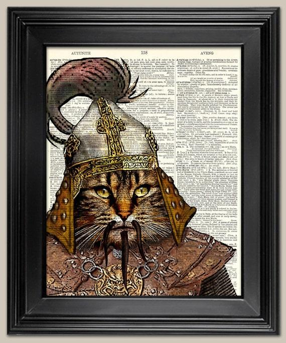 Genghis Khan Cat Vintage Book Page Art Print Print On Book