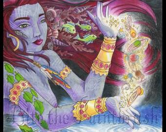 Print of Purple Goddess Calmly Creating Universes fish lightning water jewels