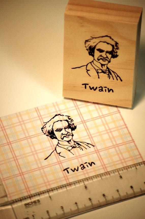 Hand carved rubber stamp Mark Twain.