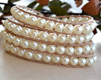 Ivory Pearl and Brown Leather Wrap Bracelet