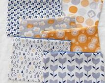 Scandinavian Style Flower & Dots Pattern Panel Fabric, 6 Designs Package