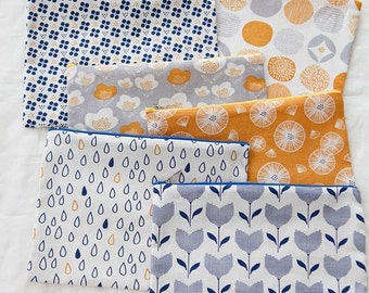 Scandinavian Style Flower & Dots Pattern Panel Fabric, 6 Designs Package