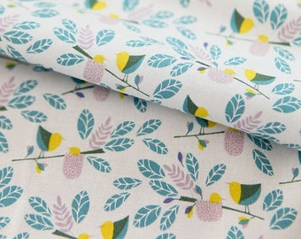 Leaves and Birds Pattern Cotton Fabric by Yard