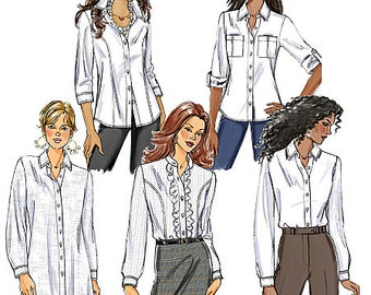 Butterick Sewing Pattern B5526 Misses' Button-Down Collared Shirts