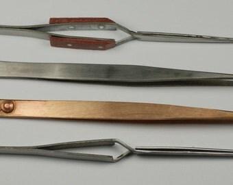 Soldering tweezers set x4 copper insulated negative locking solder tools repairs