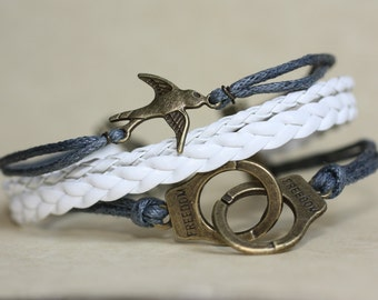 RESPECT~  Grey Leather Bracelet Multilayer Bracelet Handcuffs and Love Fifty Shades of Grey Inspired 50 Shades Bracelet ilovecheesygrits