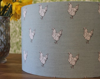 Hens Handmade Linen/Cotton Lamp Shade in  Duck Egg Blue or Sage Green
