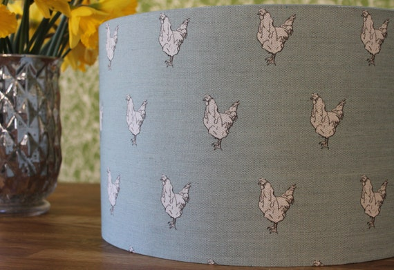 Hens handmade linencotton lamp shade in duck egg blue or like this item mozeypictures Choice Image