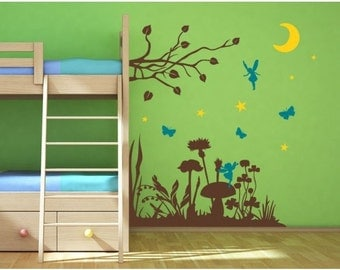 Magic Forest girls wall decal, sticker, mural, vinyl wall art