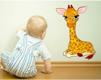 Baby Giraffe nursery wall decal, deco, sticker, mural, vinyl wall art
