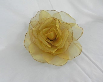 """Large Metallic 6"""" Decorative Gold Wire Mesh Rose Flower  with Pin Back Perfect for Hat Decoration or Formal Gown Embellishment MI00809"""