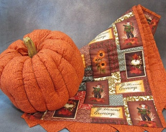 Fabric Pumpkin and Quilted Table Runner 2 Piece Set by TC Folk