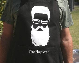 Men's Apron - Beer - Beard - Black Cotton  - The Hopster - Men - Man - Husband - Dad - Boyfriend - Groomsmen - Uncle
