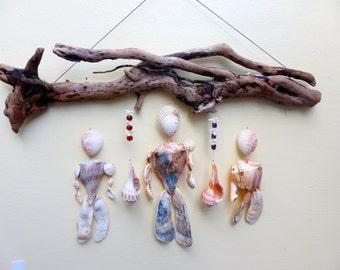 sea shell mobile, mobile, driftwood mobile, feng shui decor, recycled art, zen art, hanging mobile, shell mobile,driftwood art, driftwood