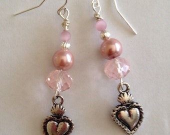 Heart Earrings with Pink Beads - Heart Charm Earrings - Homemade Jewelry - Homemade Earrings - Dangle Earrings