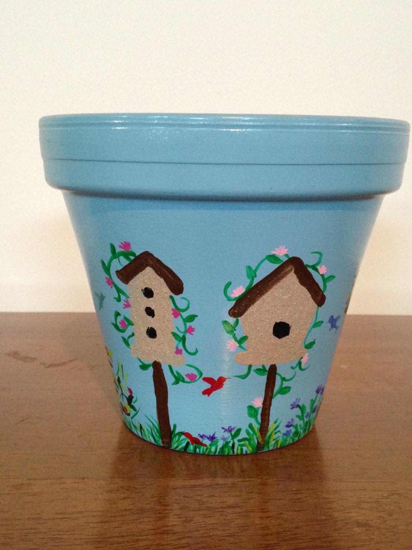 Decorative Flower Drawings: Hand Painted 6 Inch Decorative Flower Pot Bird House Design
