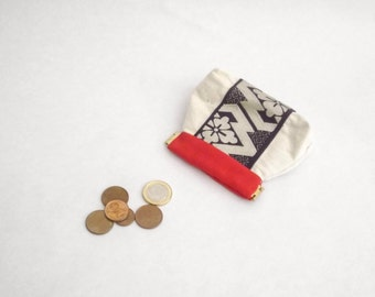 fabric coin purse, japanese coin purse, obi coin case, flex frame coin case