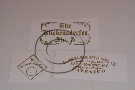 Early Blickensderfer 5 Typewriter Water Slide Decal set