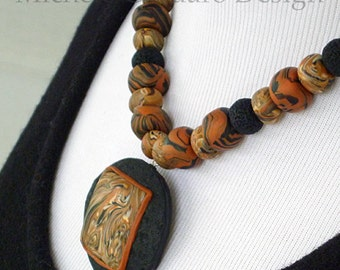 Terra Di Sienna Pendant Bead Necklace Sculpted by Hand