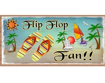 Wood Signs  - Handmade Wood sign, Flip Flop Fan GS651 Flip Flops on a Beach plaque